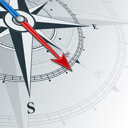 Compass with wind rose, the arrow points to the southeast. Illustrations can be used as background