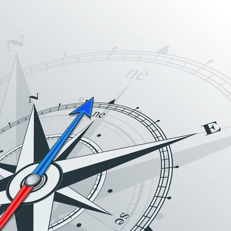 Compass with wind rose, the arrow points to the northeast. Illustrations can be used as background