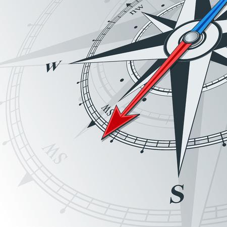 Kompas met windroos, de pijl wijst naar het zuidwesten. Illustrations kan worden gebruikt als achtergrond