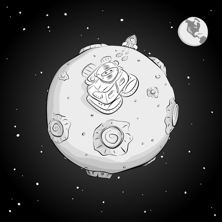 came: Astronaut on the moon came out of the rocket, and looking up at the stars. Monochrome. EPS10