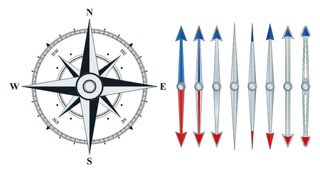 Compass with wind rose. Set the arrow of the compass. The illustration on a white background.