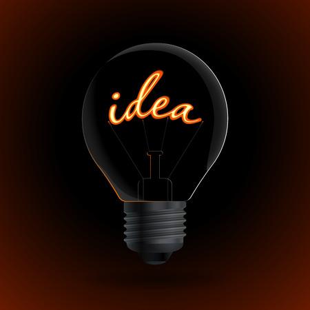 tungsten: Lightbulb with Idea sign on a dark background. Vector illustration.