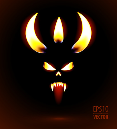 tattoo face: Glowing silhouette of the devil. Vector illustration. Illustration