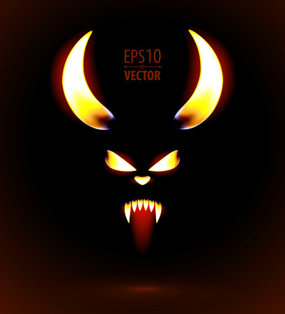 Glowing silhouette of the satan. Vector illustration. 일러스트