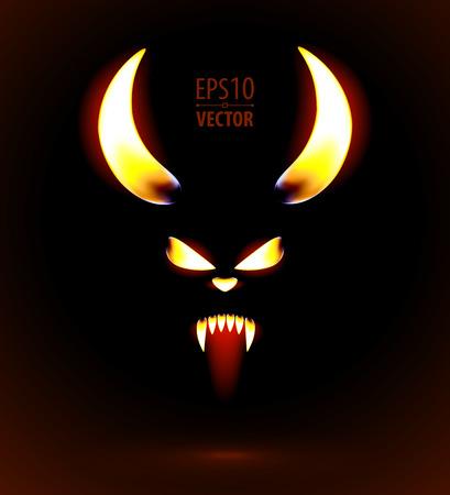 Glowing silhouette of the satan. Vector illustration. Illustration