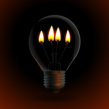 alight: lightbulb with four fire candle on dark background.