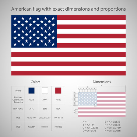 American flag with exact dimensions and proportions.