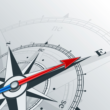 Compass with wind rose, the arrow points to the east. Illustrations can be used as background Illustration