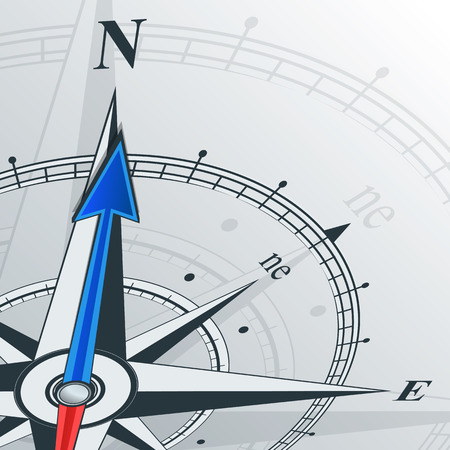 Compass with wind rose, the arrow points to the north. Illustrations can be used as background