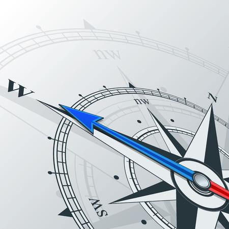 Kompass mit Windrose, der Pfeil zeigt nach Westen. Abbildungen können als Hintergrund verwendet werden Standard-Bild - 43820274
