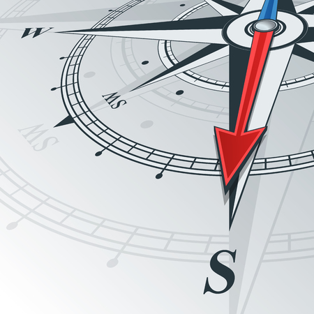 compass: Compass with wind rose, the arrow points to the south. Illustrations can be used as background