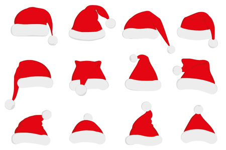 Santa Claus red hat set. Santa hat, Santa red hat isolated on white. New Year 2016 santa red hat . Santa head hat vector. Santa Christmas hat decoration vector.