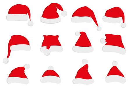 weihnachtsmann lustig: Weihnachtsmann roten Hut-Set. Sankt-Hut, Santa roten Hut auf weiß isoliert. Neujahr 2016 Santa roten Hut. Sankt Kopf Hut Vektor. Sankt-Weihnachts Hut Dekoration Vektor.