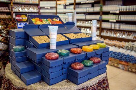 Madaba, Jordan - October 27, 2015: Natural Dead Sea Cosmetics. Large assortment on storefront. In the original packaging. Editorial
