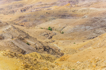 judean hills: Sand and gravel hills and ravines in the mountain areas of Jordan. Desert mountain landscape Stock Photo