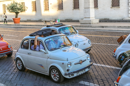 mini bike: Vatican, Italy - June 26, 2014: old italian small cars, rally of vintage economy car Fiat 500