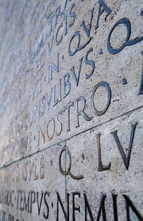 mundi: Latin inscription on the outside wall of the peace altar in Rome. Ara Pacis wall in Rome, Italy