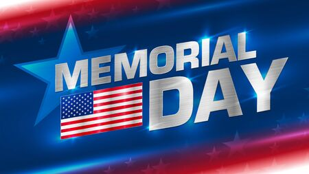 Lettering Memorial Day with a flag of America on an abstract background. Metal texture on the letters and the flag.