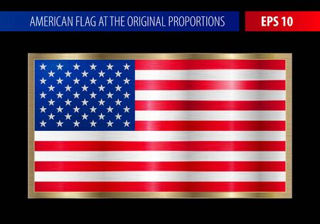 realist: American flag in a metallic gold frame. Metal texture glare on the flag. Illustration