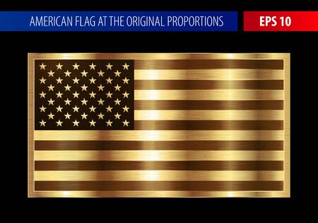 Gold American flag in a metallic frame. Metal texture glare on the flag. Ilustração