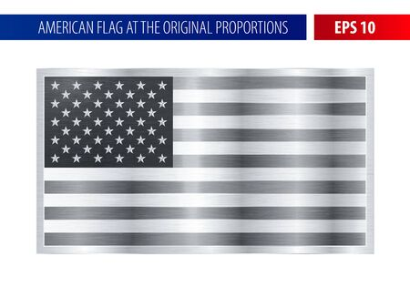 realist: Silver American flag in a metallic frame. Metal texture glare on the flag.