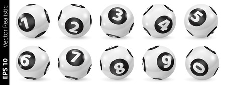 Lottery Number Balls. Black and white balls isolated. Bingo balls set. Bingo balls with numbers. Set of black and white balls. Realistic vector. Lotto concept. White Bingo Balls.