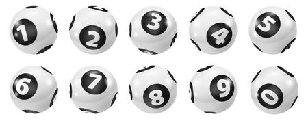 Lottery Number Balls. Black and white balls isolated. Bingo balls set. Bingo balls with numbers. Set of black and white balls. Lotto concept. White Bingo Balls. Reklamní fotografie