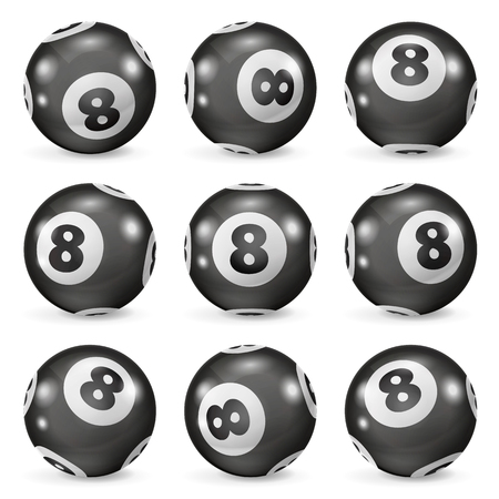 eights: Set of billiard balls eights from different angles. Magic 8 ball. Billiards ball eight. Pool balls eight. 8 ball isolated. Black billiard ball with number eight is a symbol of good luck.