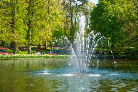 path to romance: Pond with a fountain in the Keukenhof park in Netherlands. In the background to blur the tourists walk in the park Keukenhof, Holland, Netherlands.