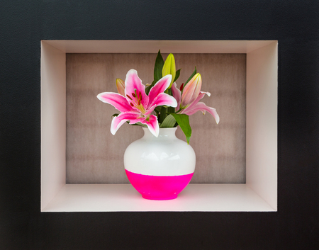 Giant White And Pink Lily In White And Pink Vase Stands In Black