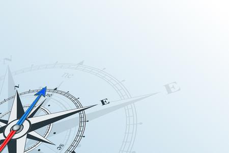 Boussole au nord-est. Boussole avec la rose des vents, la flèche pointe vers le nord-est. Boussole sur un fond bleu. Les illustrations de la boussole peuvent être utilisées comme arrière-plan Banque d'images - 78423343