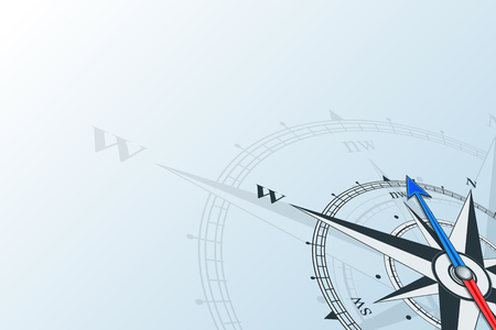Compass northwest. Compass with wind rose, the arrow points to the northwest. Compass on a blue background. Compass illustrations can be used as background