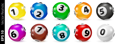 Vector Colorful Bingo. Lottery Number Balls. Colored balls isolated. Bingo ball. Bingo balls with numbers. Set of colored balls. Realistic vector. Lotto concept. 向量圖像