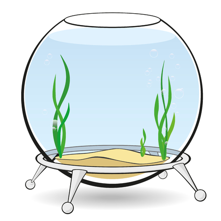 Fishbowl for fish with blue water, algae and bubbles on the stand. Aquarium on a white background. Vector cartoon illustration. Illustration