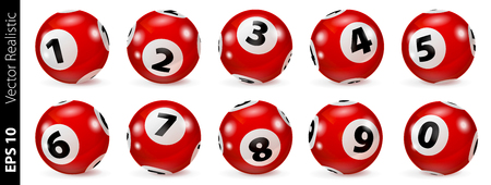 Lottery Number Balls. Bingo balls set. Bingo balls with numbers. Set of red balls. Realistic vector. Lotto concept. Red Bingo Ball. Illustration