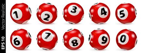 Lottery Number Balls. Bingo balls set. Bingo balls with numbers. Set of red balls. Realistic vector. Lotto concept. Red Bingo Ball. Illustration