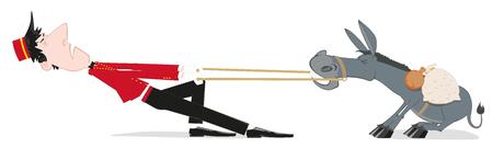 Porter tira de un burro obstinado. Bellboy Hotel Porter Profesión. Una ilustración vectorial sobre un fondo blanco.