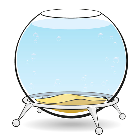 Aquarium on a white background. A round aquarium for fish with blue water and bubbles on the stand. Illustration