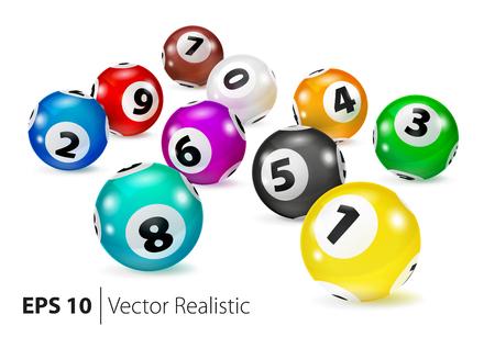 Boules colorées de bingo-test de vecteur se trouvent dans un ordre aléatoire. Boules de numéro de loterie. Boules colorées isolées. Boule de bingo Balles de bingo avec des chiffres. Vecteur réaliste Illustration isolée de vecteur.
