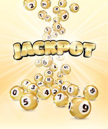 Illustration Les boules de Bingo en or tombent aléatoirement sur fond rose. Jackpot en lettres d'or. Nombre de points de loterie. Boules d'or. Boule de bingo. Boules dorées de bingo avec des nombres. Illustration réaliste.