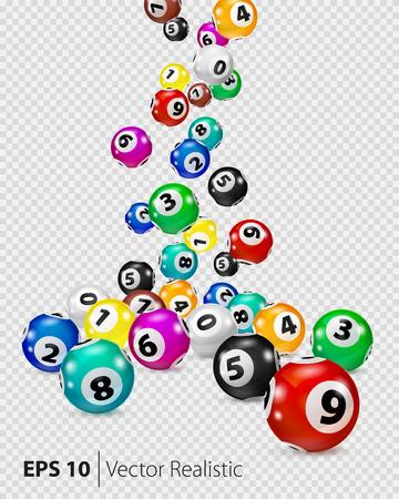 Les boules colorées de Bingo colorées tombent au hasard. Nombre de points de loterie isolés. Boules colorées isolées. Boule de bingo. Balles de bingo avec des nombres. Vector réaliste. Vector illustration isolée. Vecteurs