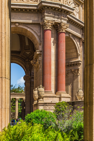 Column Frame of the Palace of Fine Arts - San Francisco, California, USA Stock Photo