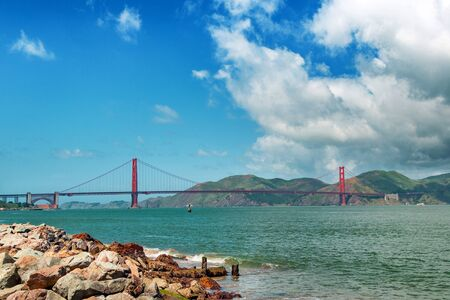 Golden gate bridge day landscape, San Francisco. Panoramic view of Golden Gate brige in San Francisco.