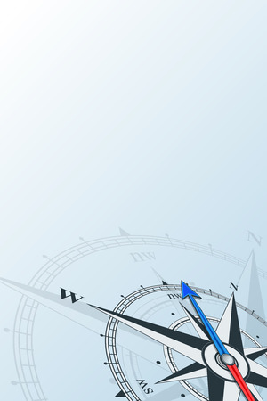 Compass northwest background vector illustration. Arrow points to the northwest. Compass on a blue background. Compass illustrations can be used as background. Travel concept with copy space place. Ilustração