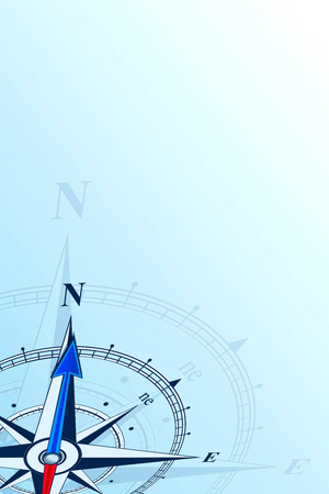 Compass north background illustration. Arrow points to north. Compass on a blue background. Compass illustrations can be used as background. Flat background with copy space. Travel concept. Stock Photo