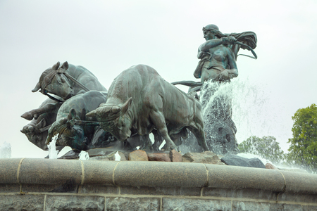 Gefion Fountain, Copenhagen, Denmark. View of famous Gefion Fountain in Copenhagen. Gefion fountain is the largest fountain in Copenhagen. Gefion fountain with raging bulls in Copenhagen.