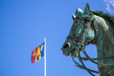 Horse statue in front of the royal palace in Stockholm, Sweden. Statue of Charles XIV John former king of Sweden in Stockholm, Sweden