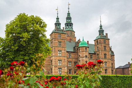 Red roses in the small garden near the Rosenborg Palace.