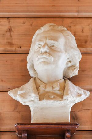Bergen, Norway - Jule, 2016: Bust of the Norwegian classical music composer Edvard Grieg. The bust is located in the house of the composer Edward Grieg Museum, Bergen, Norway.
