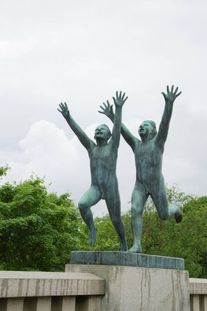 Oslo, Norway -Jule, 2016: Sculpture works and artistic objects of Gustav Vigeland in Frogner park, the popular tourist destination in Norwegian capital.